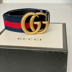 Like New Navy and Red Canvas Gucci Belt with GG